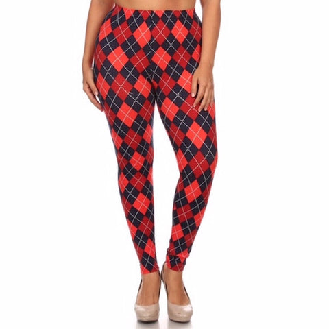 Argyle Plaid Printed Leggings Plus
