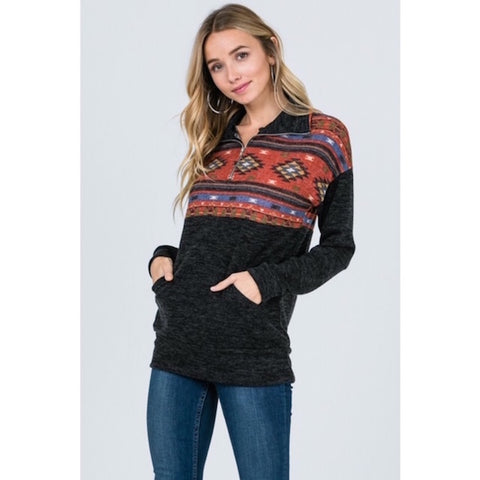 Tribal Print Color Block Pullover Sweater
