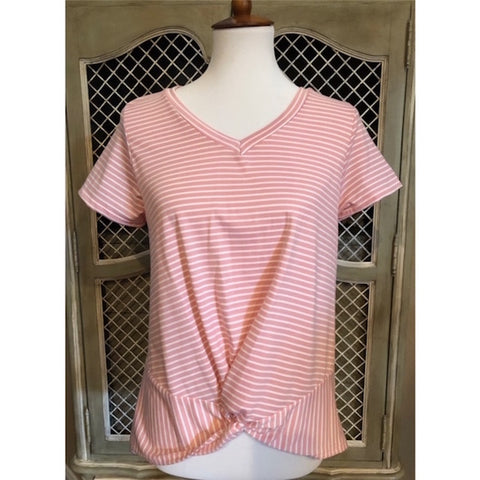 Pink & White Striped V-Neck Twist Hem Top