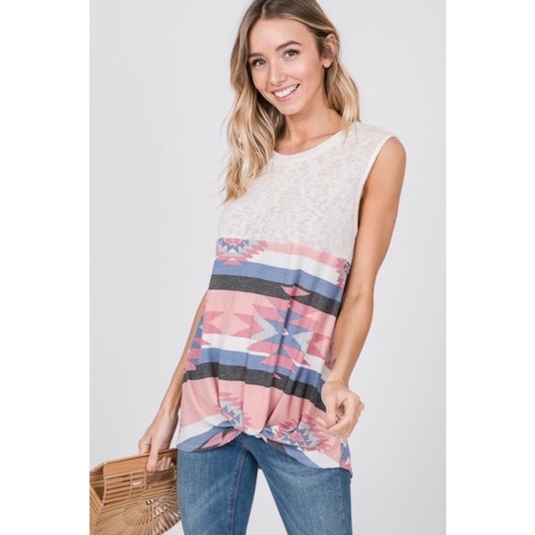 Sleeveless Aztec Print Knit Top with Twist Hem