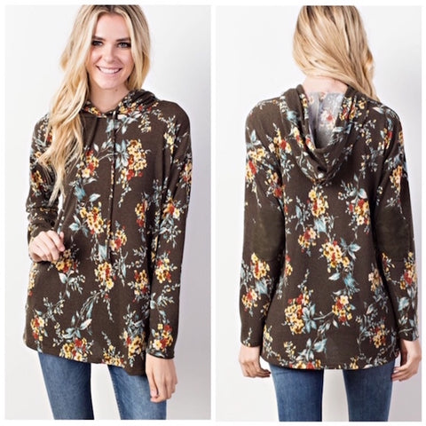 Floral Elbow Patched Hooded Pocket Pullover