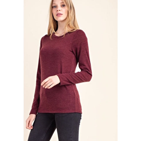 Long Sleeve Basic Knit Top Burgundy