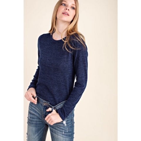 Long Sleeve Basic Knit Top Navy