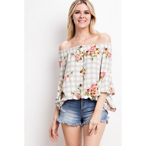 Floral Over Check Print Off the Shoulder Top