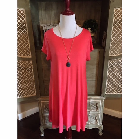 Short Sleeve Solid Swing Dress with Pockets Coral