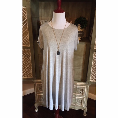 Short Sleeve Solid Swing Dress with Pockets Heather Gray