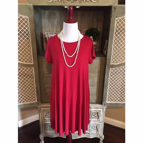 Short Sleeve Solid Swing Dress with Pockets Red