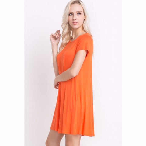 Short Sleeve Solid Swing Dress with Pockets Orange