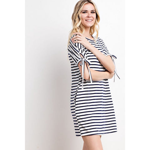 Striped Tie Sleeve Pocket Dress