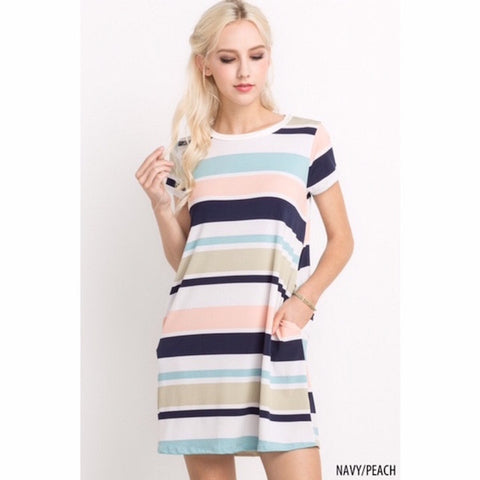 Striped Short Sleeve Dress with Pockets