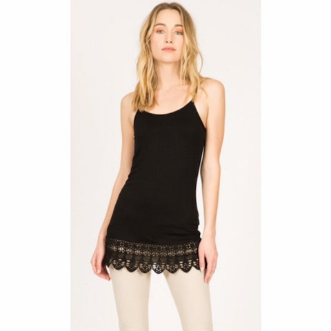 Cami with Crochet Hem Shirt Extender Black