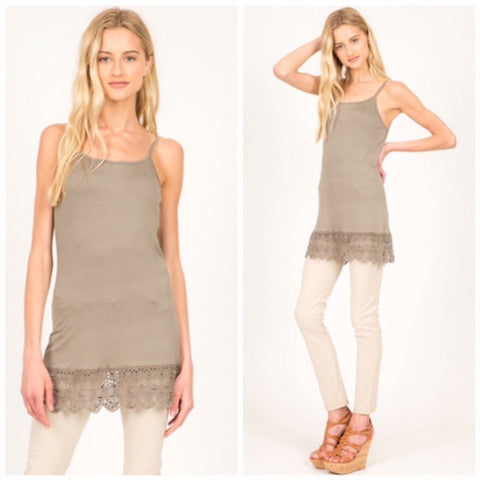 Cami with Crochet Hem Shirt Extender Dune