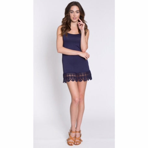 Cami with Crochet Hem Shirt Extender Navy