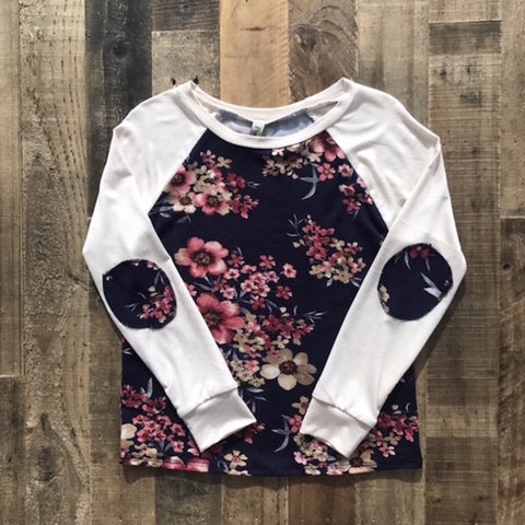 Girls Floral Print Raglan Top with Elbow Patches