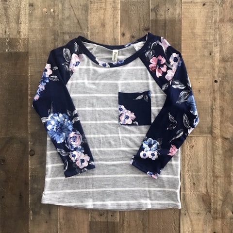 Girls Striped & Floral Print Top with Pocket