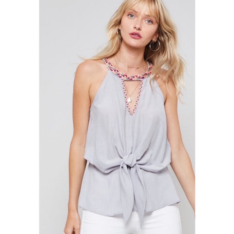Embroidered Trim Halter Gray