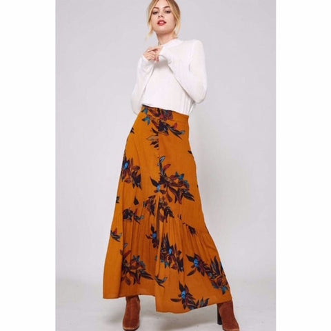 Button Front Floral Maxi Skirt