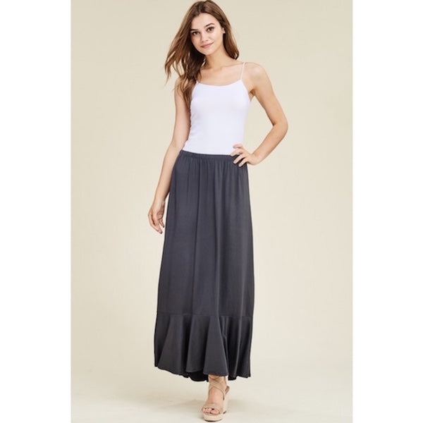 Mermaid Hem Maxi Skirt in Charcoal Gray