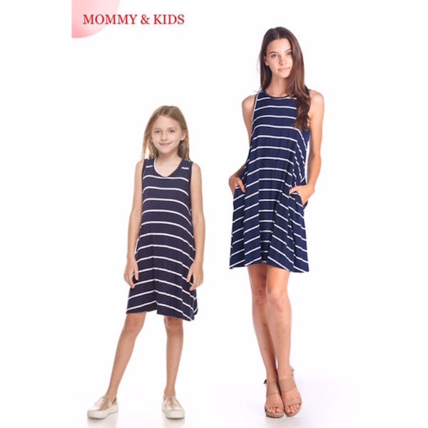 Girls Navy Striped Sleeveless Pocket Dress