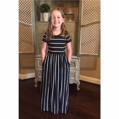 Girls Short Sleeve Striped Maxi Dress with Pockets