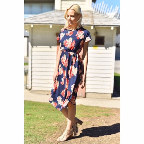 Navy Floral Midi Dress with Pockets Plus