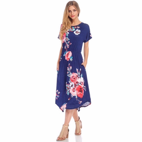 Navy Floral Midi Dress with Pockets