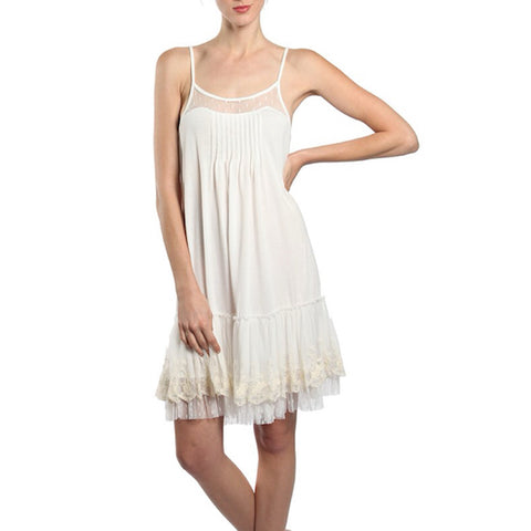 Lace Trim Slip Dress in Ivory