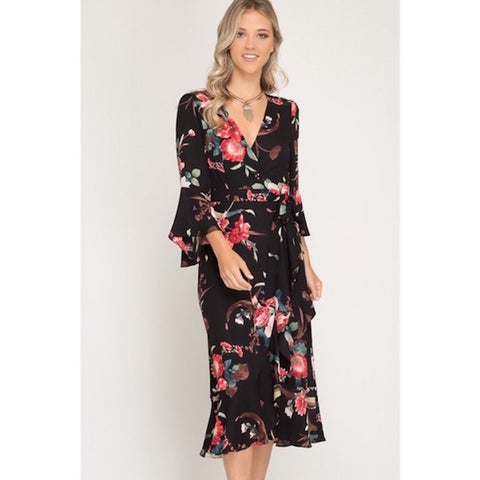 Black Floral Wrap Dress with Bell Sleeves