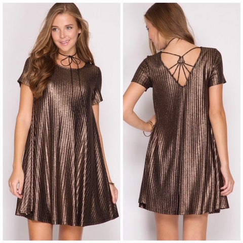 Bronze Strappy Back Swing Dress
