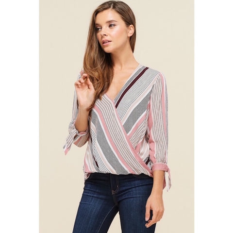 Striped Wrap Front High Low Hem Blouse