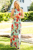 Sleeveless Floral Maxi Dress with Pockets in Sage