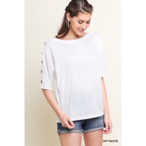 Knit Top with Button Sleeve Detail Off White