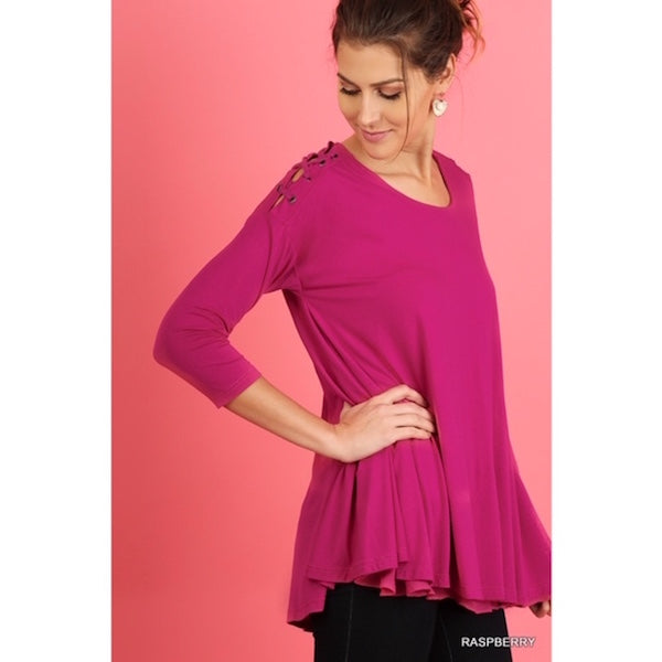 Criss Cross Shoulder Layered Tunic Pink