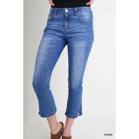 Cropped Split Seam Jeans