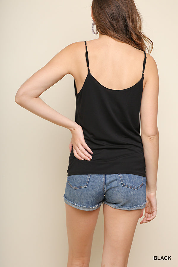 42d9a2a5f7b49b Gathered Front Knot Tank in Black – Chicks Picks Boutique