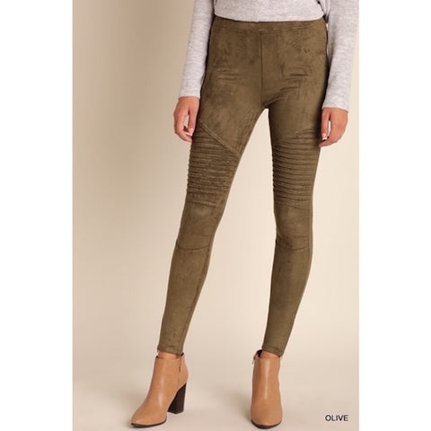 Olive Suede Ankle Zip Moto Jeggings