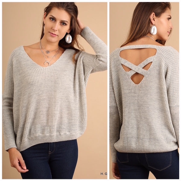Light Sweater with Back Cutout Detail Gray