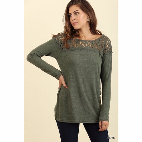 Floral Crochet Tunic in Olive