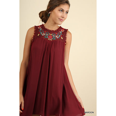 Embroidered Sleeveless Dress in Maroon