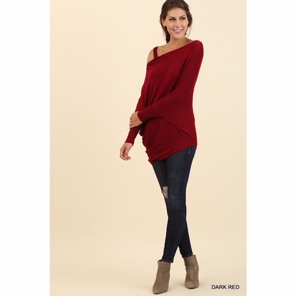 One Shoulder Asymmetrical Lightweight Sweater