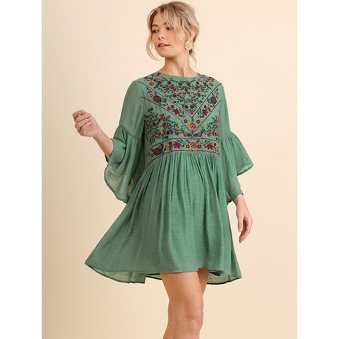 Embroidered Bell Sleeve Dress in Sage