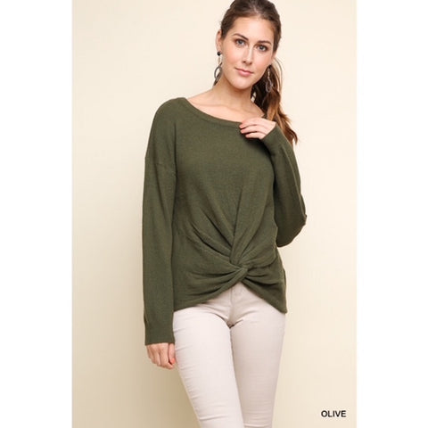 Front Knot Detailed Sweater Olive