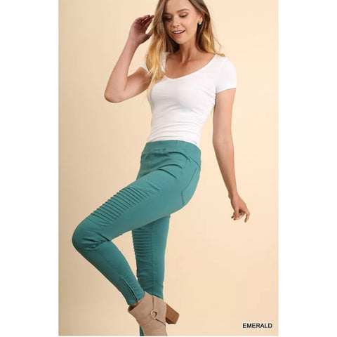 Ankle Zip Moto Jeggings Emerald/Aqua