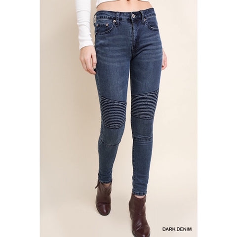 High Waisted Dark Denim Moto Jeans