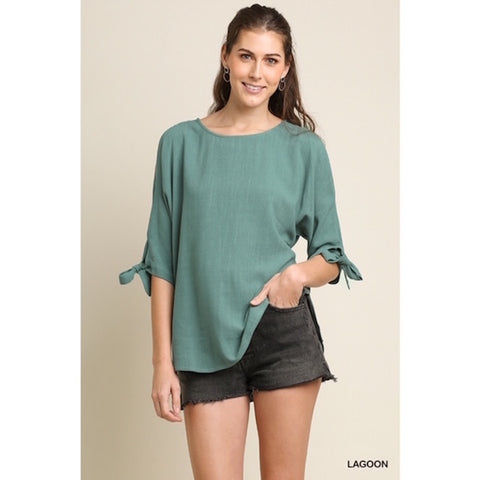 Open Shoulder Top with Tied Sleeves in Sage