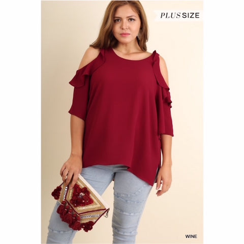 Wine Cold Shoulder Ruffle Blouse Plus