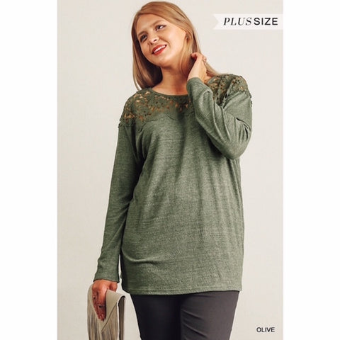 Floral Crochet Tunic in Olive Plus