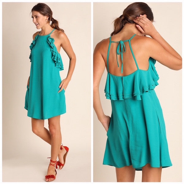 Sleeveless Dress with Ruffled Detail & Pockets in Jade