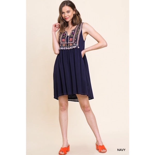 Sleeveless Embroidered Dress with Tassels in Navy