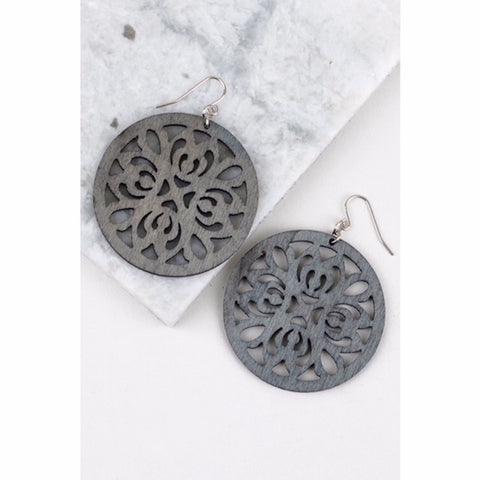 Round Wood Filigree Earring in Gray